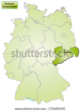 Map of Saxony with main cities in green