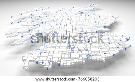 Map of Scotland - UK | 3d Rendering: mosaic of little bricks - Flag colors
