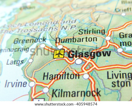 Map of Scotland with focus on Glasgow