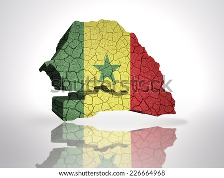 Map of senegal with senegalese Flag on a white background - stock photo