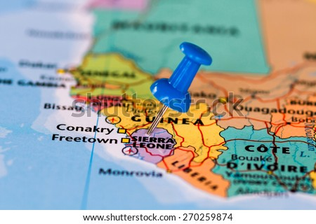 Map of Sierra leone with a blue pushpin stuck - stock photo