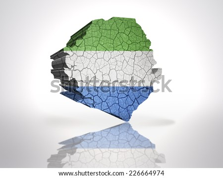Map of sierra leone with sierra leone Flag on a white background - stock photo