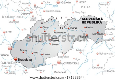 Map of Slovakia as an overview map in gray