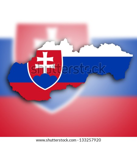 Map of Slovakia filled with the national flag - stock photo