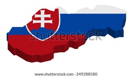 Map of Slovakia with national flag decor  - stock photo