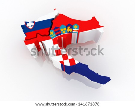 Map of Slovenia and Croatia. 3d