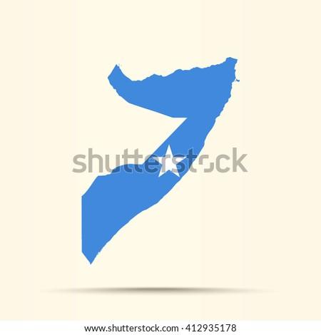 Map of Somalia in Somalia flag colors - stock photo