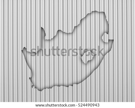 Map of South Africa on corrugated iron
