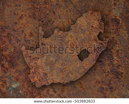 Map of South Africa on rusty metal