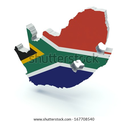 Map of South Africa with flag colors. 3d render illustration. Isolated on white.
