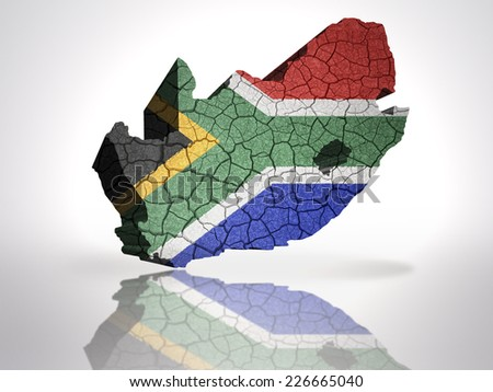 Map of south africa with south africa Flag on a white background