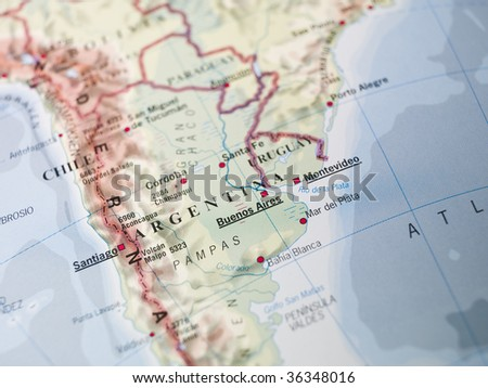 Map of South America - stock photo