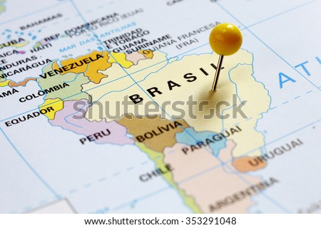 Map of South America, Brazil - stock photo
