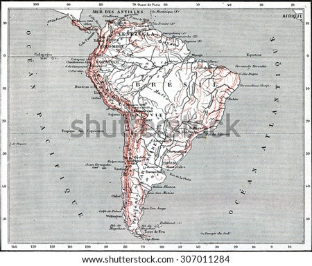 Map of South America, vintage engraved illustration. Dictionary of words and things - Larive and Fleury - 1895. - stock photo