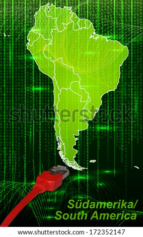 Map of South America with borders in network design
