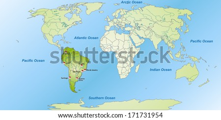 Map of South America with main cities in green