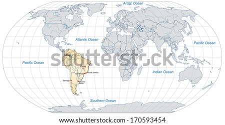 Map of South America with main cities in pastel orange - stock photo