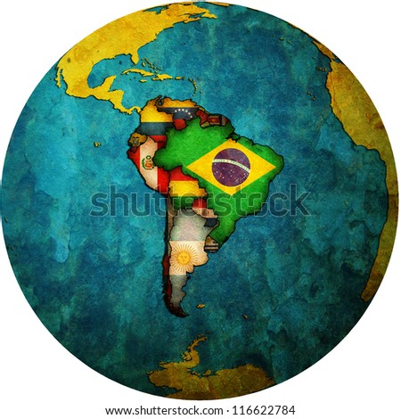 map of south american countries on isolated over white map of globe - stock photo