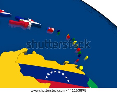 Map of South Caribbean with embedded flags on 3D political map. Accurate official colors of flags. 3D illustration