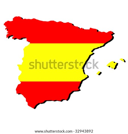 map of Spain and Spanish flag illustration JPEG