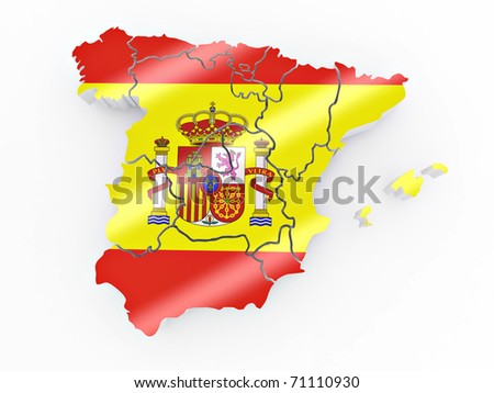 Map of Spain in Spanish flag colors. 3d - stock photo
