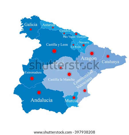 Map of Spain on  areas
