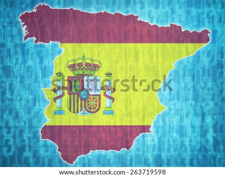 map of spain with administrative divisions over digital background - stock photo