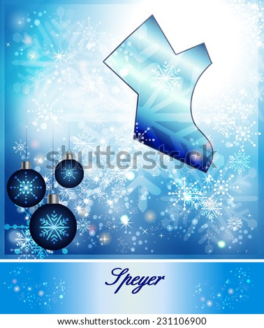 Map of Speyer in Christmas Design in blue