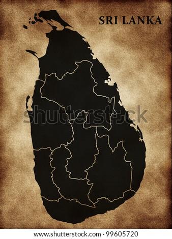 Map of Sri Lanka - stock photo