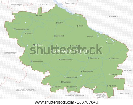 Map of Stavropol region, Russia