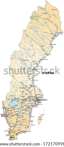 Map Administrative Divisions Sweden Stock Vector 37103095 Shutterstock