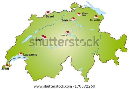Map of Switzerland as an infographic in green