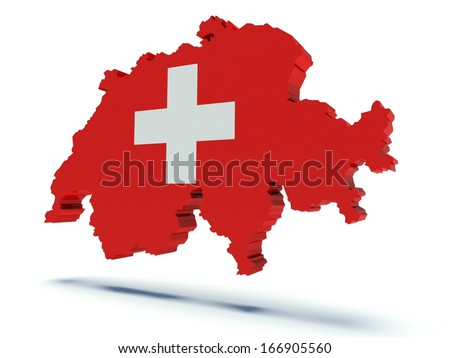 Map of Switzerland with flag colors. 3d render illustration.