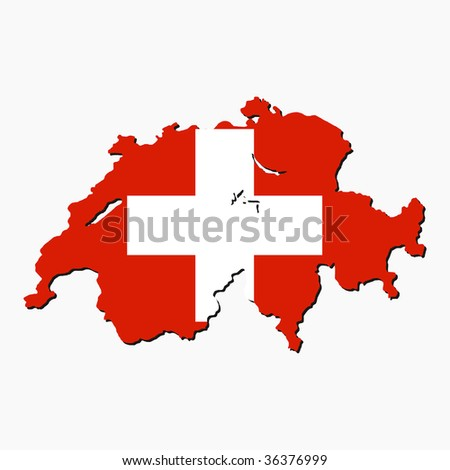 map of Switzerland with their flag illustration JPEG