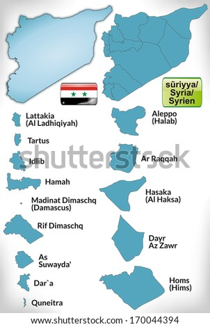 Map of Syria with borders in blue - stock photo