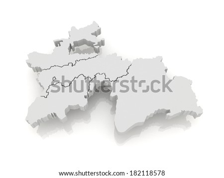 Map of Tajikistan. 3d