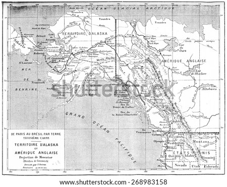 Map of Territory of Alaska and British America, vintage engraved illustration. Journal des Voyage, Travel Journal, (1880-81). - stock photo