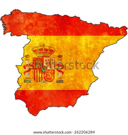 map of territory of spain with national flag and border - stock photo