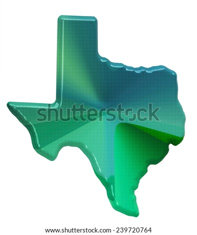 Map of Texas in 3d style - stock photo