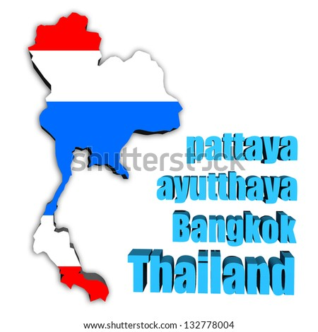 map of Thailand in Thai flag colors