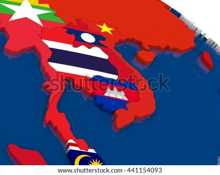 Map of Thailand with embedded flags on 3D political map. Accurate official colors of flags. 3D illustration