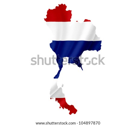 Map of Thailand with waving flag isolated on white - stock photo