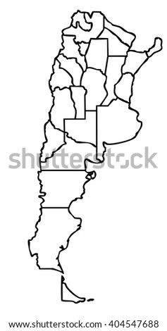 map of the argentinian state with black outline on white background with main internal borders - argentina map stylized - stock photo