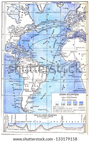 Map of the Atlantic Ocean, vintage engraved illustration. Dictionary of Words and Things - Larive and Fleury - 1895 - stock photo