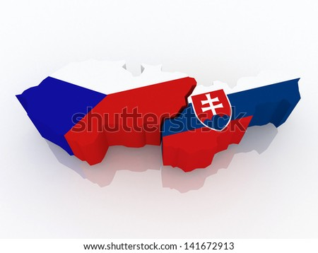 Map of the Czech Republic and Slovakia. 3d