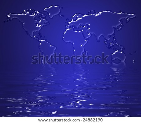 Map of the earth made from water suggesting melting of the earth as a concept