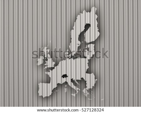 Map of the EU on corrugated iron