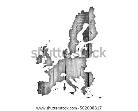 Map of the EU on weathered wood