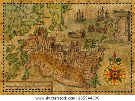 Map of the fantasy land 3 - stock photo
