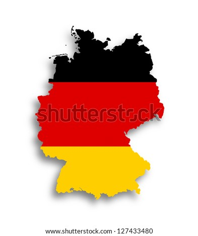 Map of the Federal Republic of Germany with national flag isolated